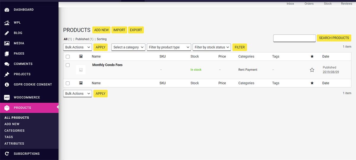 building website design dashboard