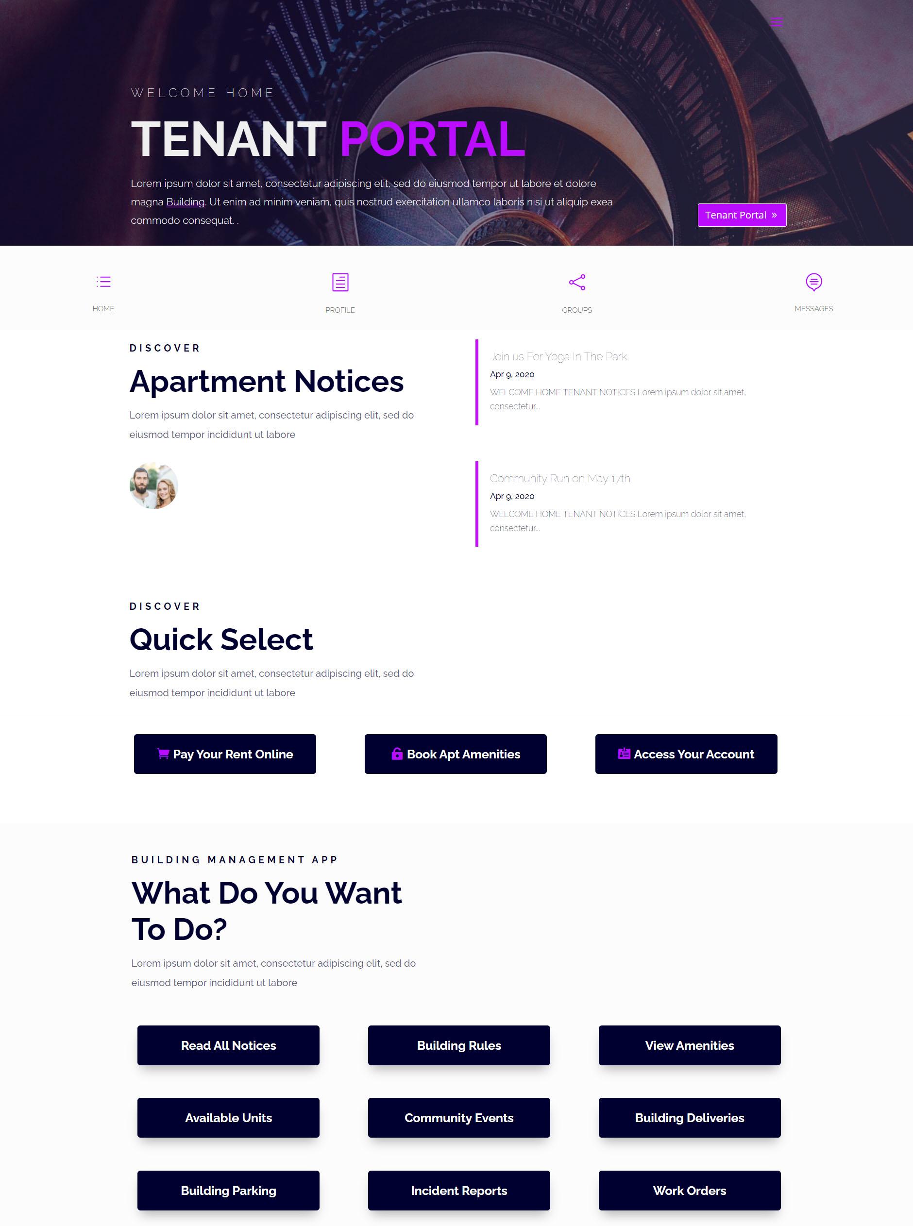 tenant portal page